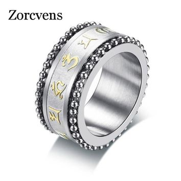 ZORCVENS New Rotatable Mantra Ring for Men 11MM Stainless Steel Prayer Religious Male Spinner Anel Jewelry