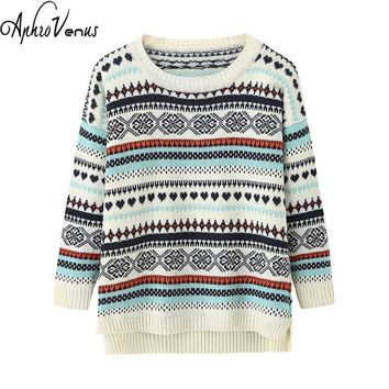 Pull Femme Women Pullover Christmas Sweater Retro Snow Printed Knitted Outwear Jumper Split Ham O-neck Female Tops Poncho Jacket