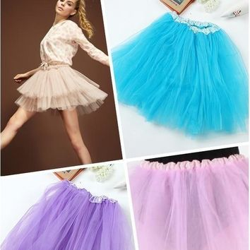 2016 Hot Women Girl Pretty Elastic Stretchy Tulle Teen 3 Layer Adult Tutu Lolita Ballet Skirt 12 Colors 4021