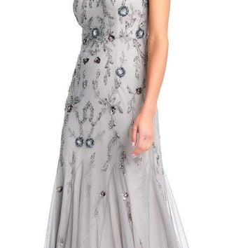 Adrianna Papell - AP1E202853 Floral Beaded Godet Trumpet Gown