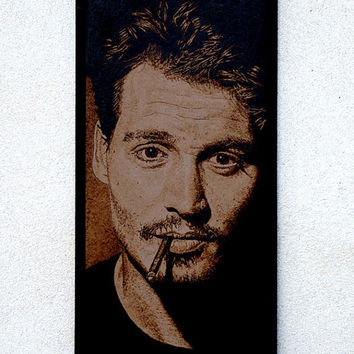 Johnny Depp woodburned wall decoration