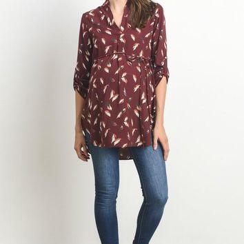 Women's Leaf High Low Maternity Tunic