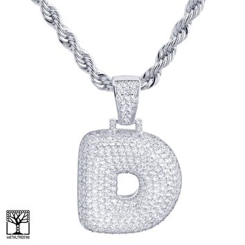 "Jewelry Kay style Custom Bubble Letter D Initial Silver Plated Iced CZ Pendant 24"" Chain Necklace"