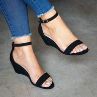 Single Band  Black Wedge Sandals