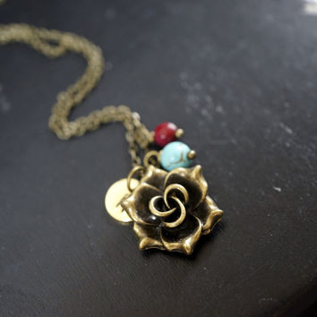 Initial Necklace - Bronze Rose Flower Necklace- Turquoise Necklace Ruby Charm Rose  Necklace  Retro Flower Charm Birthstone Necklace