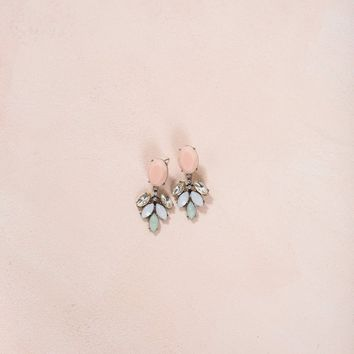 Shelly Peach Crystal Dangle Earrings