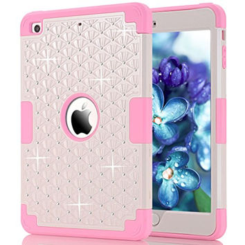 HOcase Rhinestone-Studded Bling Series Shockproof Scratch Resistant Protective Case for iPad mini 1st / 2nd / 3rd generation - White+Pink