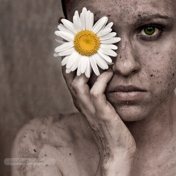 Self Portrait Fine Art Photograph - Contemporary - Sensual - Modern Decor- feminine, daisy, green eye, emotional, flower photo - 8x8 print