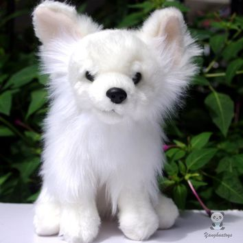 White Pomeranian Dog Stuffed Animal Plush Toy 10""