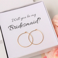 Will you be my Bridesmaid, Gift for Bridesmaids invite, 14K Gold-Filled hoop earrings, 1 inch gold hoops 20 gauge thick Bridesmaids Earrings