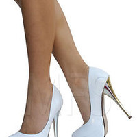 White Faux Leather Metallic Stiletto Heels Pumps City