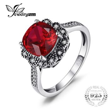JewelryPalace Vintage 3.4ct Square Red Created Ruby Promise Anniversary Ring 925 Sterling Silver Fashion Charms Wedding Jewelry