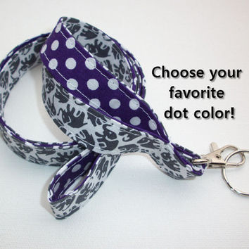 Lanyard  ID Badge Holder - Lobster clasp and key ring - design your own gray elephants white polka dots pink two toned double sided