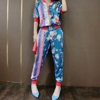 Gucci Clothes Women  Fashion Edgy Floral Multicolor  Stitching Long Sleeve Satin Two-Piece Suit Clothes