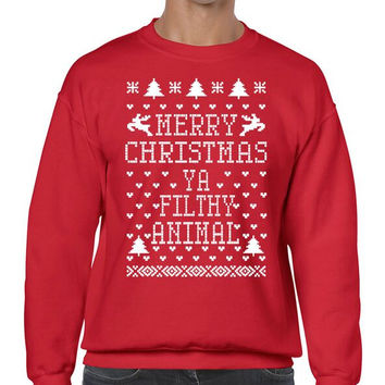 Merry Christmas Ya Filthy Animal Men's Crewneck Sweatshirt Ugly Christmas Sweaters
