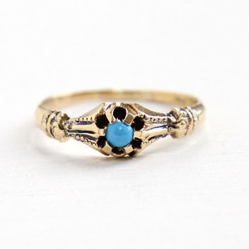 Antique Victorian 14k Yellow Gold Turquoise Cabochon Ring - Vintage Size 5 1/4 Edwardian Early 1900s Belcher Set Teal Stone Fine Jewelry