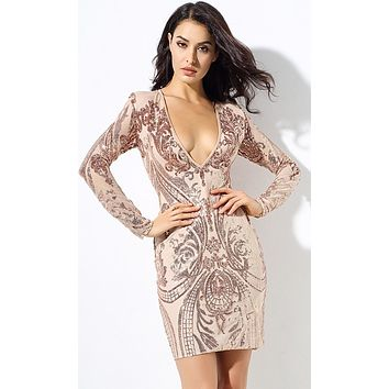 Fine Tuned Sequin Geometric Pattern Long Sleeve V Neck Bodycon Mini Dress - 2 Colors Available