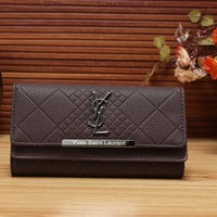 YSL Yves Saint Laurent Women Fashion Leather Shopping Wallet Purse-5