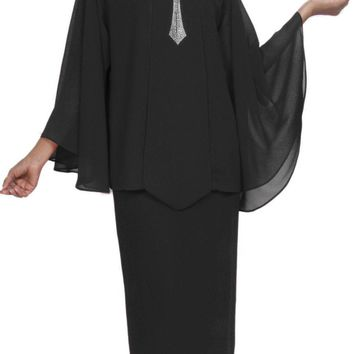 Hosanna 5031 Plus Size Church Choir Black Tea Length Dress 4 Piece Set