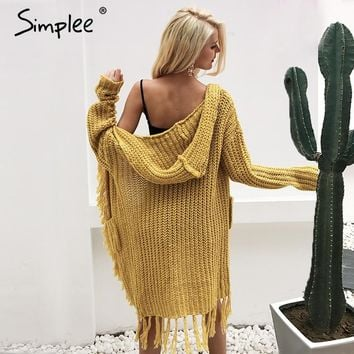 Knit Hooded Long Cardigan Sweater with Tassel Fringe Trim