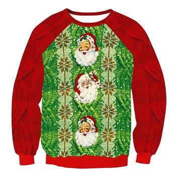 Patchwork Santa Claus Print Women Christmas Party Sweatshirt