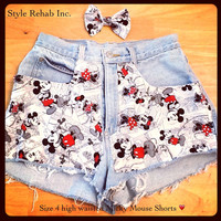 High waisted Micky Mouse Jean Shorts. Size 4.