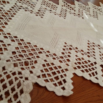 Vintage Crochet Rectangle Doily Great Design Perfect for your Cottage Chic Decor