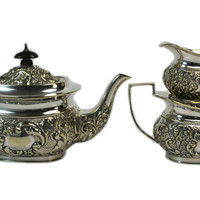 Silver Plated Tea Set by Robert Pringle Antique English Victorian 19th Century