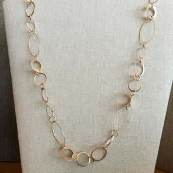 Circle and Oval Links Matte Gold Finish Necklace