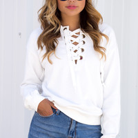 Morena White Lace Up Sweater