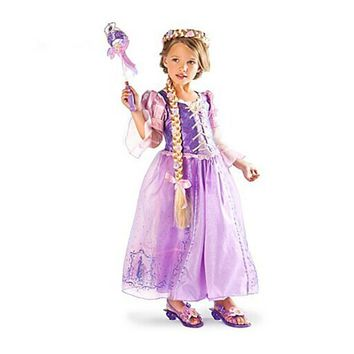 Fantasia Vestidos, 2017 Children role play dresses purple dress Rapunzel costume Halloween costume Free Shipping