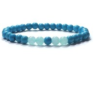 Turquoise And Amazonite  Gemstone  Stretch Bracelet