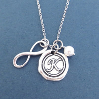 Personalized, Wax seal, Letter, Initial, Infinity, White, Pearl, Silver, Necklace, Birthday, Best friends, Mom, Sister, Gift, Jewelry