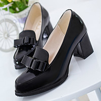 High Quality Women Shoes High Heels Faux Leather Slip-on Pointed Toe Shoes Solid Fashion Bowknot Ladies Shoes Pumps Size 36-39