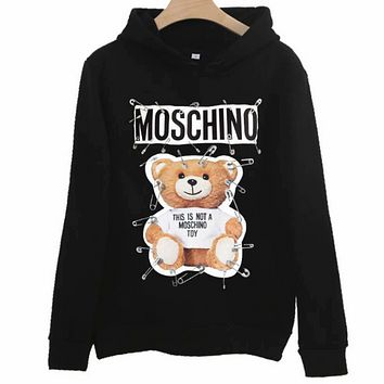 Moschino 2018 autumn new pin bear couple models hooded sweater black