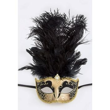 Black/Gold High Feathered Party Face Mask