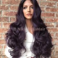 "Laurel Dark Purple Ombré  26"" Lace Front Wig /Sale/"