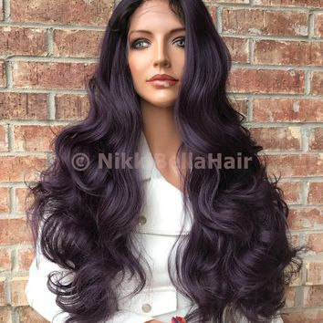 "Laurel Dark Purple Ombré  26"" Lace Front Wig"