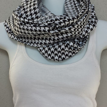 Fashionable Eternity Loop Houndstooth Scarf Three loop Infinity Scarf Cowl Fashion Scarf Patterned Scarf Printed Scarf