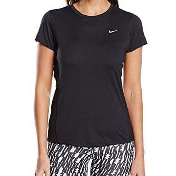 Nike Womens Dri-FIT? Miler Short Sleeve Top Black T-Shirt SM