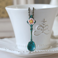 Whimsical Blue Verdigris Patina Spoon Necklace. Large Antique Bronze Spoon Charm Pink Flower Cabochon Necklace. Vintage Inspired