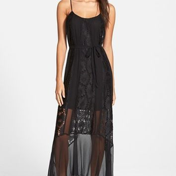 Women's Plenty by Tracy Reese 'Dark Sand' Lace Combo Maxi Dress,