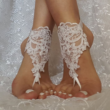 Free ship white flower wedding barefoot sandals  wedding shoe prom party steampunk bangle beach anklets bangles bridal bride