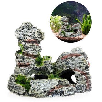 ac NOOW2 Mountain View Aquarium Decoration Moss Tree House Resin Cave Fish Tank Ornament Decoration Landscap Decorative