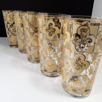 Culver Drinkware glasses  CUV16  highball glasses, 22 karet embossed gold Filigree Design, enameled glass, Unsigned