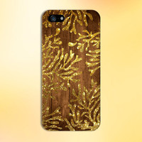 Gold Glitter Seaweed x Dark Wood Design Case for iPhone 6 6 Plus iPhone 5 5s 5c iPhone 4 4s Samsung Galaxy s6 s5 s4 & s3 and Note 4 3 2