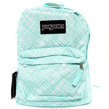 JanSport Classic SUPERBREAK® School BACKPACK - Aqua Dash Jagged Plaid