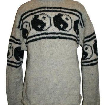 WJ 02 Wool Ying Yang Warm Sweater Hand Knitted in Nepal