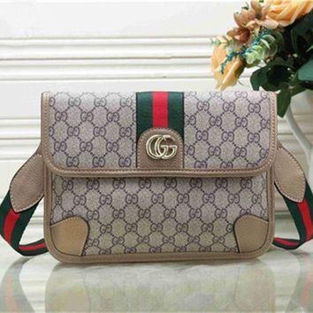 ICIKB62 GUCCI Fashionable Women Shopping Bag Metal GG Stripe Leather Satchel Crossbody Shoulder Bag Apricot I