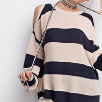 Ash Striped Cold Shoulder Sweater